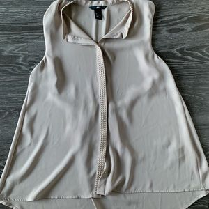 Sleeveless H&M gray/brown blouse with studs size 6